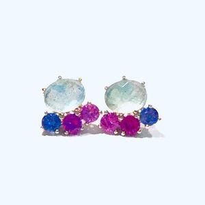 Nadri Multi-color Bloom Cluster Stud Earrings